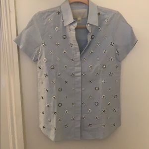 Short sleeve, embellished button-up from J.Crew